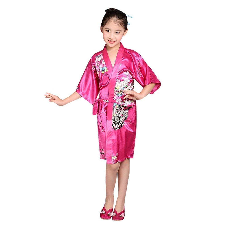 尊敬する前任者過去子供用 バスローブ ショート 着物ドレス 花柄 サテン 浴衣 キッズ 女の子 ナイトガウン 和風 コスチューム