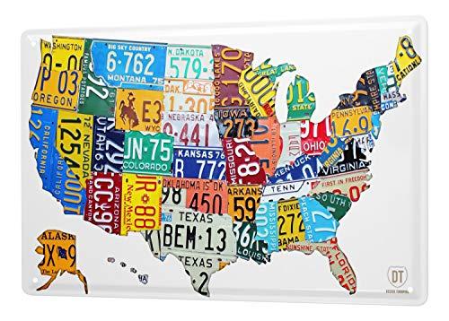 LEotiE SINCE 2004 Targhe Cartello Targa in Metallo Decorazione della Parete 30x40 cm Vacanza Agenzia Viaggi Mappa degli Stati Uniti
