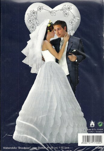 Tischaufsteller Hochzeit Wabendeko Brautpaar schwarz-Weiss 29cm Einheitsgröße
