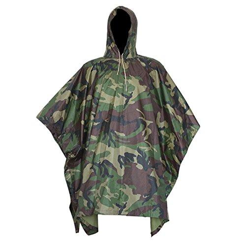 Yosoo Armee Stil Multifunktionale Regenponcho aus Wasserdichtem Ripstop Polyester PU Poncho mit eine Regen Tasche Regenbekleidung Regenschutz Regenumhang (Forest)