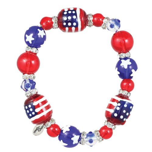 Kate & Macy Clementine Design All for America Bracelet Painted Glass Beads Rhinestones