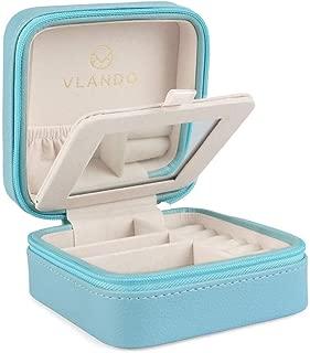 Vlando Small Portable Travel Jewelry Box with Mirror (Blue)
