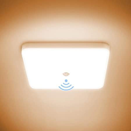 Combuh Plafonnier LED avec Détecteur de Mouvement 30W Étanche IP56 2400LM Blanc Chaud 3000K Carré Lampe de Plafond pour Extérieur, Salle de Bain, Couloir, Balcon, Garage, Cuisine Ø25CM