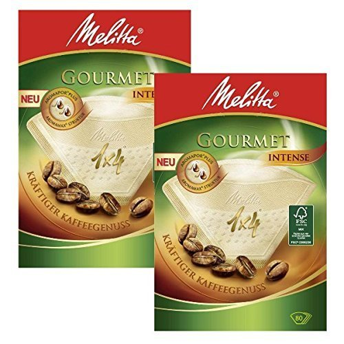 2 BOXES of Melitta Size 1x4 Gourmet Intense Coffee Filters, Pack of 80