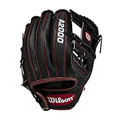 "Wilson A2000 DP15 SuperSkin Pedroia Fit 11.5"" Infield Baseball Glove 11. 5"" Infield Baseball Glove; H-Web Black Pro Stock Leather, preferred for its rugged durability and unmatched; Black Super Skin, twice as strong as regular leather, but half the w..."