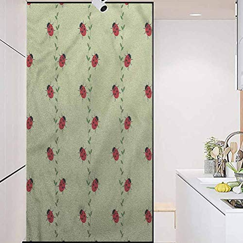 wonderr Privacy Home Decor Decorative Stained Glass Stickers, Ladybugs Symmetric Insects Pattern, Easy to Install and Reuse Glass Film, W17.7xH35.4 Inch