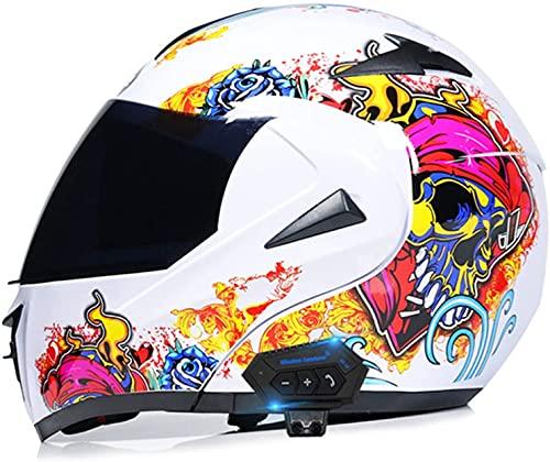 WANGFENG Casco de motocicleta modular con Bluetooth, con doble visera solar, ligero, aprobado por DOT/ECE, para adultos, hombres, mujeres, D, grande