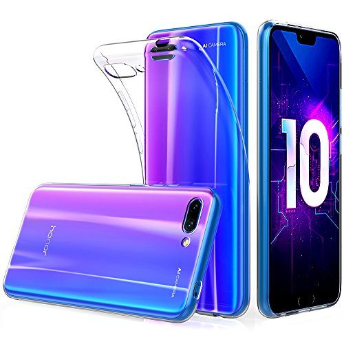Peakally Coque Huawei Honor 10, Ultra Fine TPU Silicone Transparent Souple Housse Etui Coque pour Huawei Honor 10 5.8', Adhérence Parfaite/Anti Rayures/Anti-Scratch-Transparent