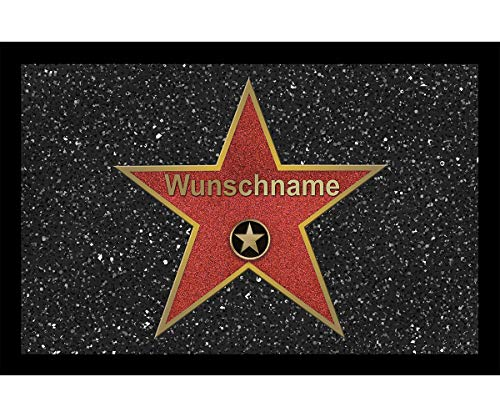 Fußmatte Walk of Fame mit Namen - personalisiert Muttertag Vatertag Einzug, Größe der Fußmatte:40 x 60 cm