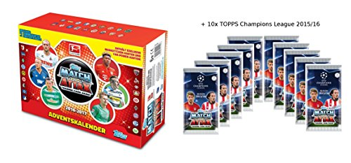 TOPPS Match Attax Saison 2016-2017 Bundesliga Adventskalender 2016 + 10x Booster TOPPS Champions League 2015/16