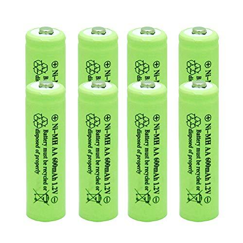 Solar Light AA Ni-mh 600mAh 1.2V Rechargable Batteries AA Rechargeable Batteries for for Solar Lights(8 Pack)