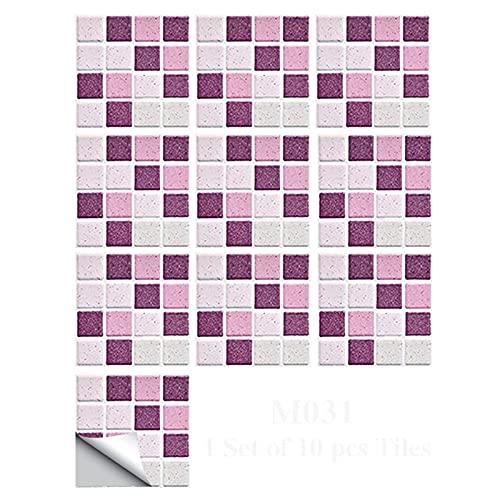 Adhesivo para azulejos de cristal en 3D: protector contra salpicaduras de azulejos para despegar y pegar, adhesivo para pared de mosaico en 3D para cocina, baño, encimera (10 cm x 10 cm, 17 hojas)