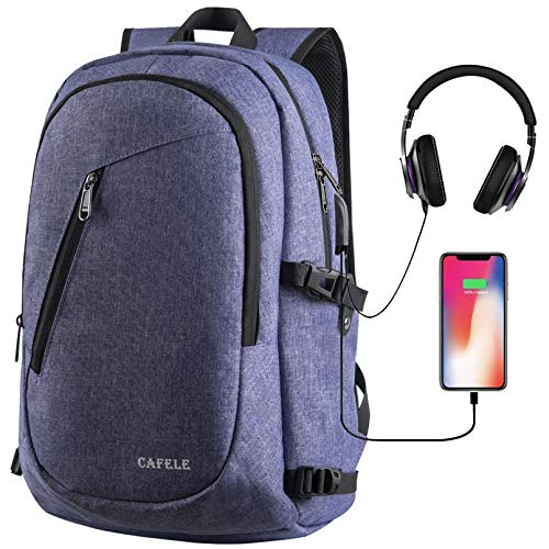 College Laptop Backpack, Anti Theft Water Resistant Student High School Bookbag w/USB Port, Slim Lightweight Business Backpack, Carry On Daypack for Work Travel Campus Fit 15.6' Computer Blue Purple