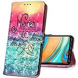 MRSTER Nokia 5.1 Handytasche, Leder Schutzhülle Brieftasche Hülle Flip Hülle 3D Muster Cover Stylish PU Tasche Schutzhülle Handyhüllen für Nokia 5.1 (2018). YB Sea