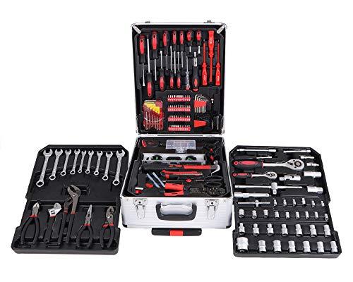 SIXTOL HOME 299 piezas en un maletín de herramientas   15 kg set en un maletín de aluminio