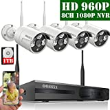 【2020 Update】 HD 1080P 8-Channel OOSSXX Wireless Security Camera System,4Pcs 960P(1.3 Megapixel) Wireless Indoor/Outdoor IR Bullet IP Cameras,P2P,App, HDMI Cord & 1TB HDD Pre-Install