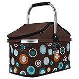 anndora Einkaufskorb 25 Liter ISO Picknick Kühlkorb - braun hellblau