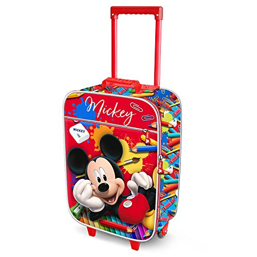 Karactermania Mickey Mouse Crayons-Soft 3D Trolley Suitcase Children's Luggage, 52 cm, 23 L, Red