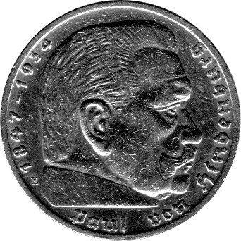 Schniebel Trading 5 Reichsmark Deutschland, 1936 E, Hindenburg (Jäger: 360) VZ