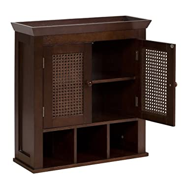Elegant Home Fashions Wall Cabinet with Cane-Paneled Doors and Storage Cubbies, Cane Brown