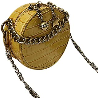 SODIAL Stone Round Bag Summer New Chain Handbag Crocodile Pattern Shoulder Messenger Bag Yellow