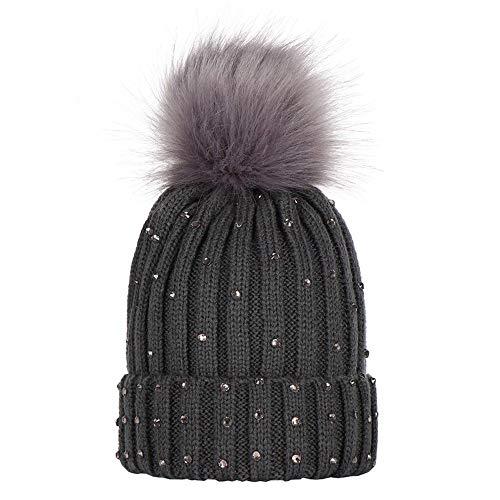 Miss Fortan - Vêtement Filles Chapeau d'hiver Beanie Bonnet Fille Chapeaux Enfants avec 2 Grand Double Pompom Faux Fourrure Bonnet Chaud Bonnet Tient Oreilles (Nombre Couleur aux Choix)