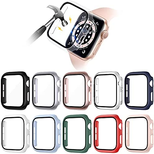 VASG [10 Pack] Hard PC Case Compatible with Apple Watch Series 6 / SE / Series 5 / Series 4 40mm with Built in Tempered Glass Screen Protector, Ultra-Thin Full Cover Bumper Compatible with iWatch 40mm