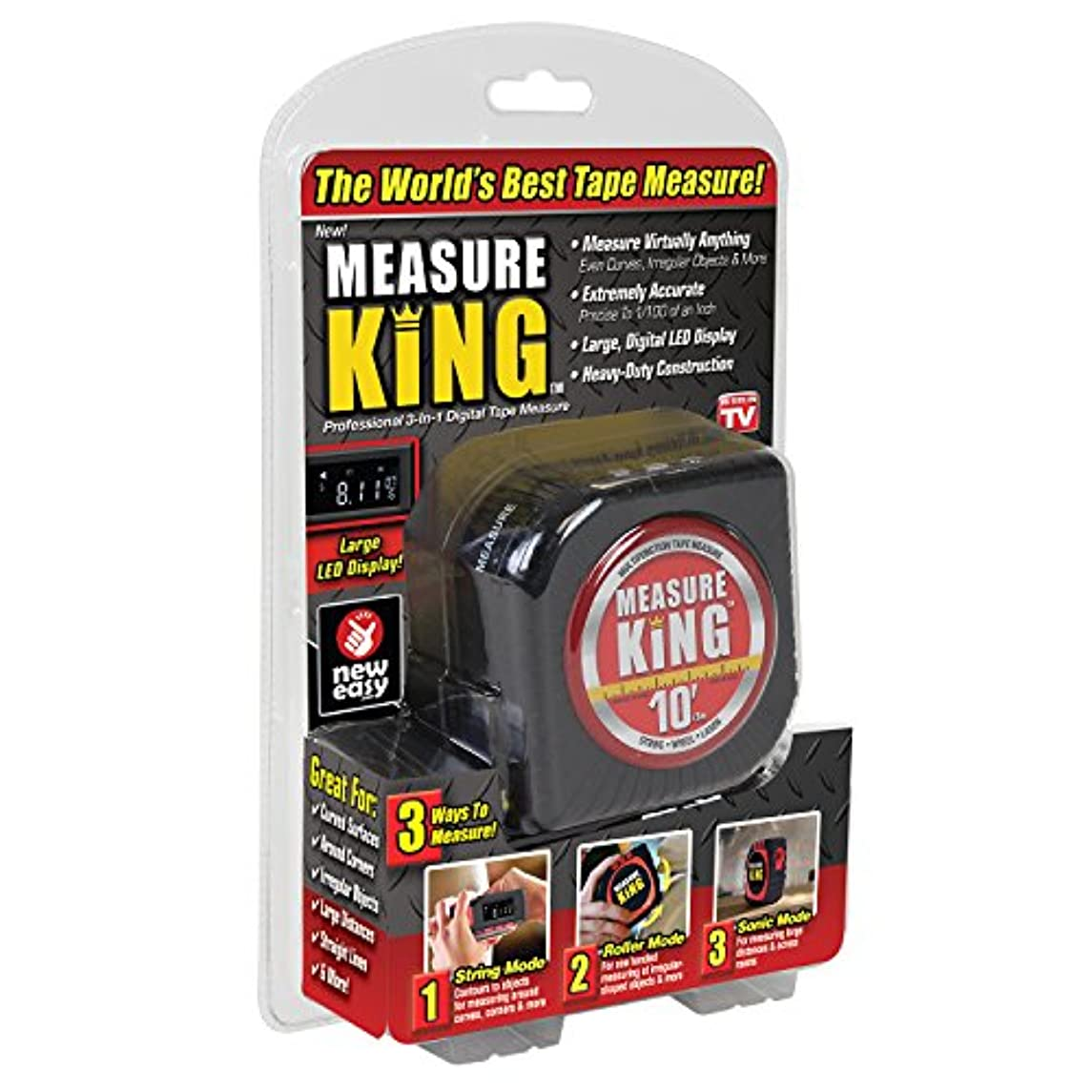 ONTEL MK-MC12/4 Measure King 3-in-1 Digital Tape Measure String Mode, Sonic Mode & Roller Mode As seen On Tv