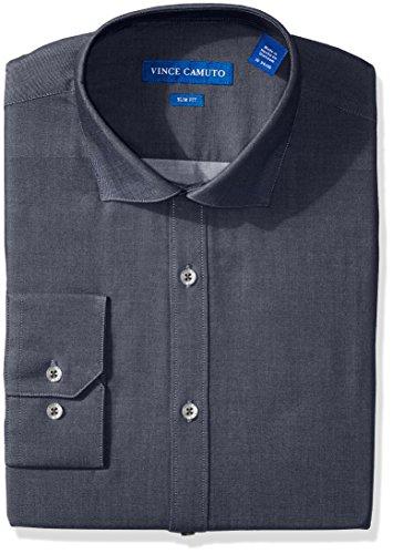 Vince Camuto Men's Slim Fit Denim Dress Shirt, Blue, 16.5 34/35