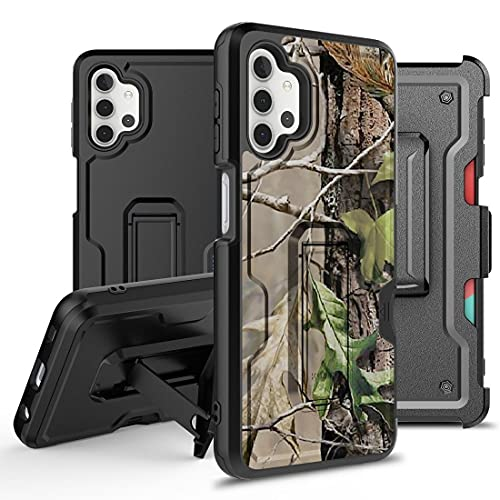 Bemz Armor Kombo Series for Samsung Galaxy A32 5G Case (Heavy Duty Rugged Kickstand Cover with Belt Clip Holster) with Touch Tool - Hunting Leaves Camo