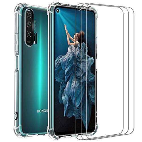 ivoler Funda para Huawei Honor 20 Pro + 3 Unidades Cristal Vidrio Templado Protector de Pantalla, Ultra Fina Silicona Transparente TPU Carcasa Airbag Anti-Choque Anti-arañazos Caso