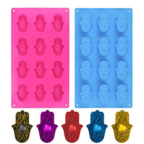 Moule à savon en silicone Hamsa - Moule à chocolat en silicone - Moule à dessert - Moule à glaçons anti-adhésif - Moule à gelée, biscuits, bonbons, cupcakes