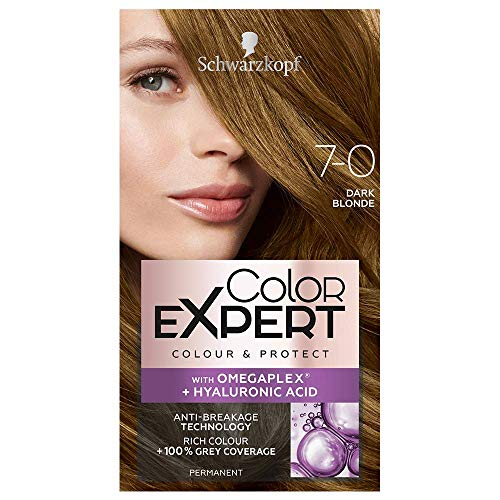 Schwarzkopf Color Expert Dark Blonde Hair Dye Permanent, Up to 100% Grey Hair Coverage & Protect with Omegaplex - 7-0 Dark Blonde