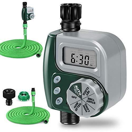 MASTERTOP - Programador digital de riego para jardín, con manguera retráctil, resistente al agua, riego automático para jardín