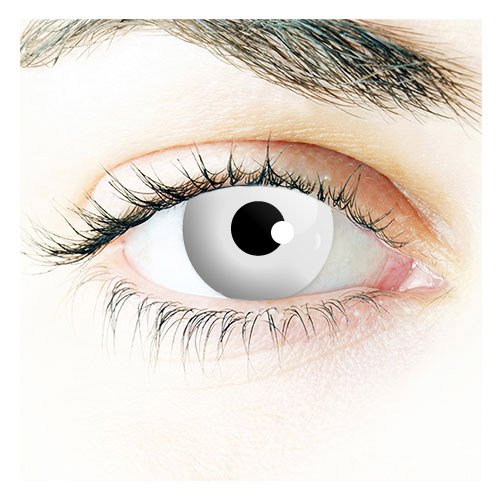 Bon Fire Night Scary Clown,Zombie, Halloween, 1 Day Use White out Contact Lenses Be Seen This Halloween (accesorio de disfraz)