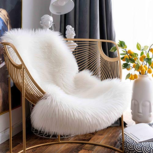Super Soft Premium Faux Sheepskin Fur Sofa Chair Cover Plush Seat Cushion Pad Shaggy Area Rugs for Bedroom Floor, 2ft x 3ft, White