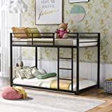 Harper & Bright Designs Twin Over Twin Metal Bunk Bed, Heavy Duty Low Bunk Bed with Safety Guard Rails and Ladder for Kids Teens Adults (Black)