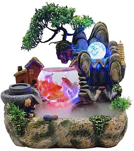 L.TSN Fuente Interior Rock Garden Acuario Sala de Estar Escritorio Bonsai Ornamento/Decoración Interior del hogar Resina Craft-A