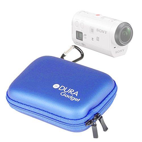 DURAGADGET Etui Housse Rigide Bleu avec Attache pour caméra embarquée Sony AZ1VR Action Cam Mini with Wi-FI