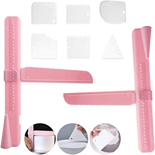Cake Scraper Set - with 2PCS Height Adjustable Cake Scraper Smoother and 6PCS Different Cake Edge Smoother Scraper