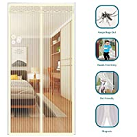 強化 網戸 玄関 ドア用 マグネット式 セルフシーリング, フライスクリーン 静かに閉鎖 マグネット付き & 加重底 ペットと子供向け メッシュカーテン-90x205cm(35x81inch)-H