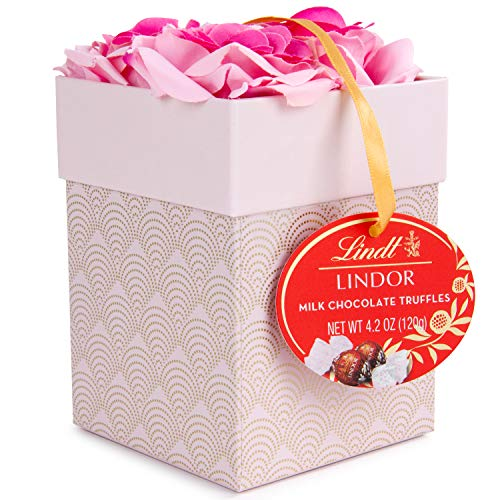 Thoughtfully Gifts, Lindt Truffles with Roses Gift Set, Includes 10 Lindt Milk Chocolate Truffles and Box with Faux Roses
