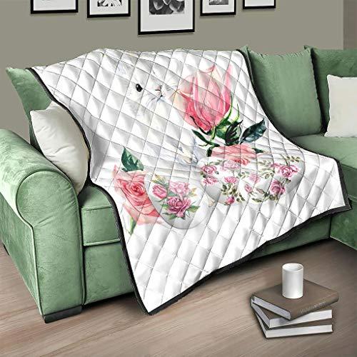 AXGM Colcha de Pascua con diseño de conejo de Pascua y flores, color blanco, 180 x 200 cm