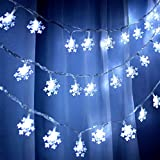Hidreas 40 Led Christmas Snowflake String Lights for Xmas Trees Decorations Garden Patio Bedroom Party Decor Indoor Outdoor Lighting