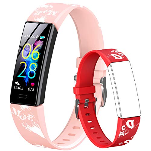 GOGUM Slim Fitness Tracker with Replacement Band for Kids Girls Boys Teens Age 5-16,Heart Rate Monitor,Activity Tracker,Alarm Clock,Pedometer,Sleep Monitor,Step Tracker Counter Watch (red)
