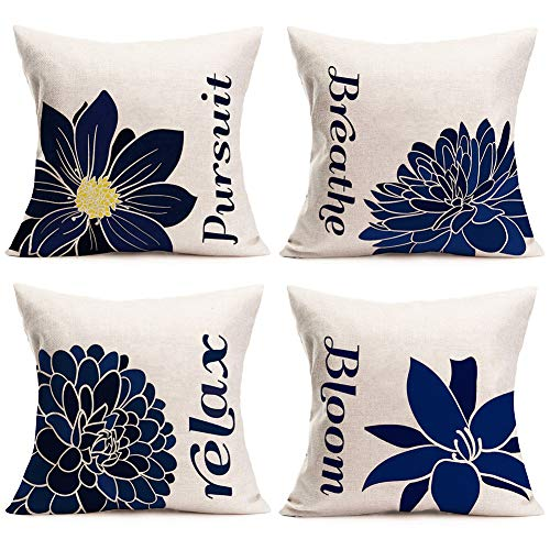 Easternproject Set of 4 Flower Quotes Throw Pillow Covers Lily Chrysanthemum Peony Country Flowers with Pursuit Breathe Relex Bloom Words Pillow Cases Cotton Linen Square 18x18 Inch Cushion Cover