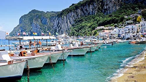 Malen Nach Zahlen Capri Italien Boote Küste Felsen Digitale Farbe Für Erwachsene Und Kinder DIY Öl Geschenk Kits Leinwand Kunst Home Decoration Rahmenlos