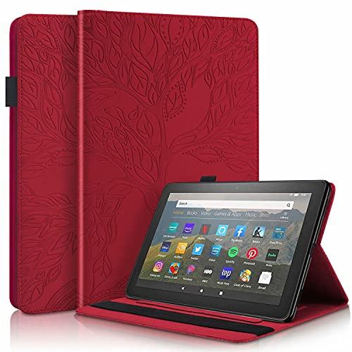 CRABOT Kompatibel mit Brandneu Amazon Fire HD 10 Tablet(11th Generation 2021 Release) & Fire HD 10 Plus Hülle Tablet Anti-Fall Kartenschlitz Brieftasche Schutzhülle Prägung Lebensbaum -Rot