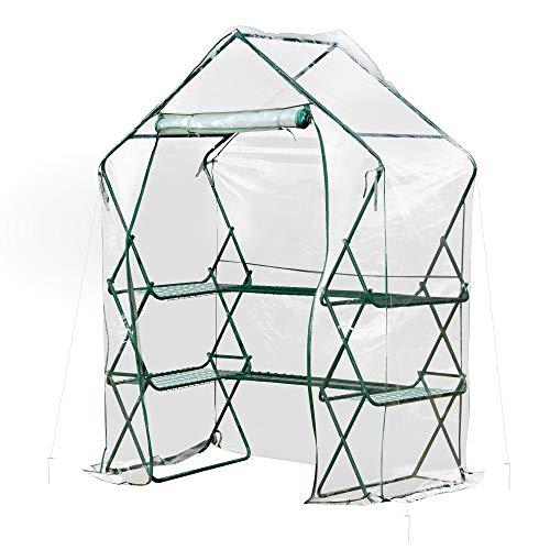 Outsunny Gewächshaus Treibhaus mit Blumenregal Tomatenhaus Pflanzenhaus für Garten Stahl PVC Transparent+Grün 143 x 73 x 195 cm