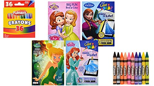 Kids Coloring Books (4) Disney Coloring Books For Kids - Disney Fairies - Princess - Frozen - Sofia The First - Crayon Coloring and Activity Book - Coloring Fun